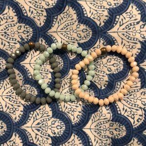 grey, mint, cream bracelet set